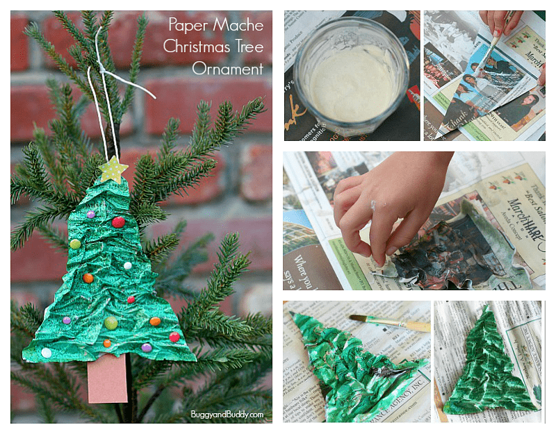 Easy Paper Mache Christmas Tree Ornament Craft For Kids Using Newspaper