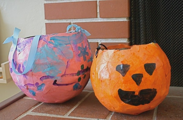 Paper Mache Trick-or-Treat Holders