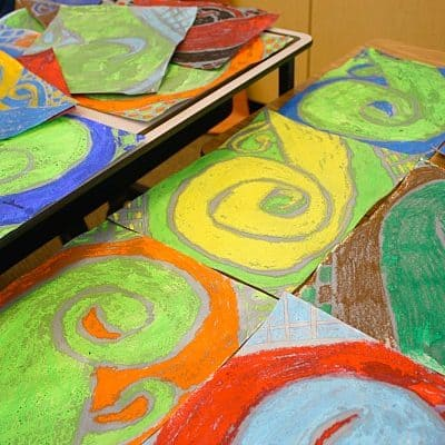 Art Projects for Kids: Oil Pastels & Watercolors