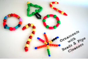Homemade Christmas Ornaments:  Pipe Cleaners and Wooden Beads