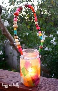Mason Jar Lantern with Beaded Handle Craft for Kids