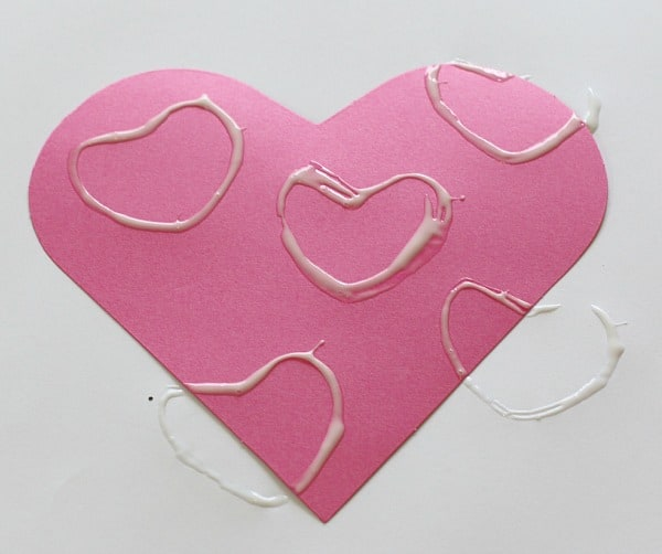 Stamped glue hearts
