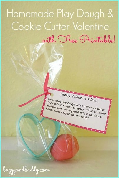Candy Free Homemade Valentine for Kids: Homemade Playdough and Heart Cookie Cutter DIY Valentine w/ free recipe tag printable! ~ BuggyandBuddy.com