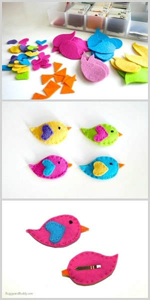 Simple sewing tutorial for making DIY bird hair clips using felt! Perfect for spring, Easter, or a bird themed birthday party! ~ BuggyandBuddy.com