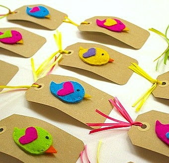 Felt Bird Hair Clips as Favors for Bird-Themed Birthday Party