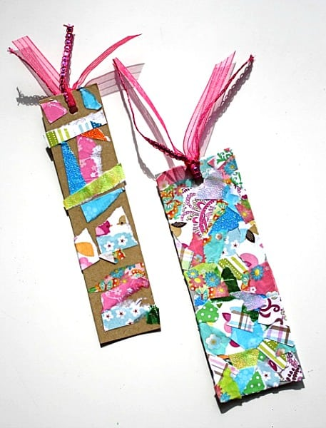 How to make a bookmark using tear art for Bookmark craft for kids