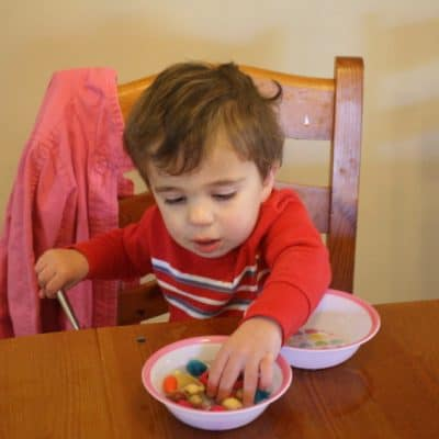 Toddler Activity~ Bowl of Water and Beads