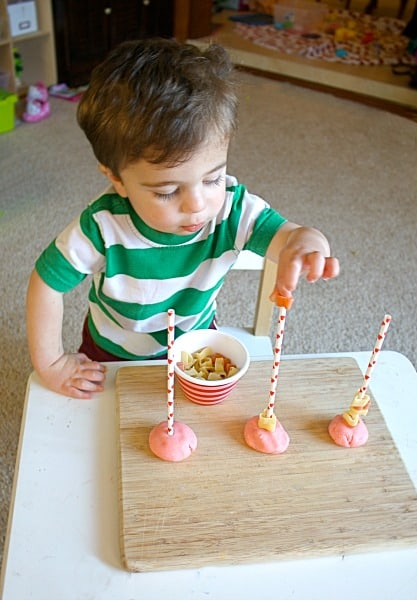 Toddler Activity~ Stacking Pasta on Straws