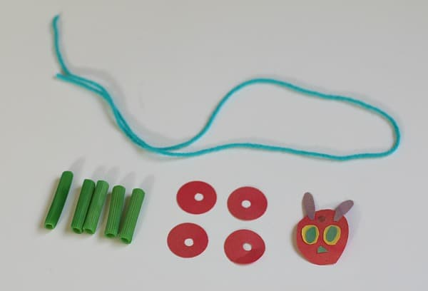 Materials for The Very Hungry Caterpillar Necklace Craft for Kids