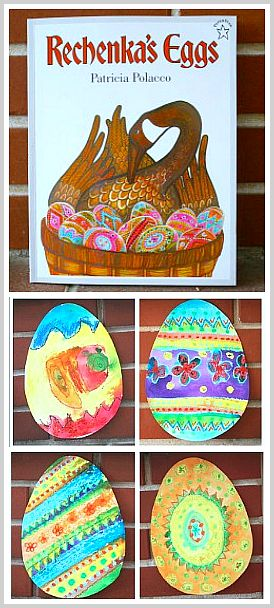 Easter Egg Art Project for Kids inspired by Rechenka's Eggs by Patricia Polacco. Design paper eggs using oil pastels and watercolors! ~ BuggyandBuddy.com