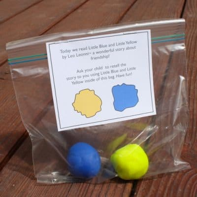 Playdough Color Mixing Activity Inspired by Little Blue and Little Yellow