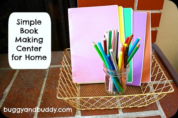 encourage writing with a book making center for kids