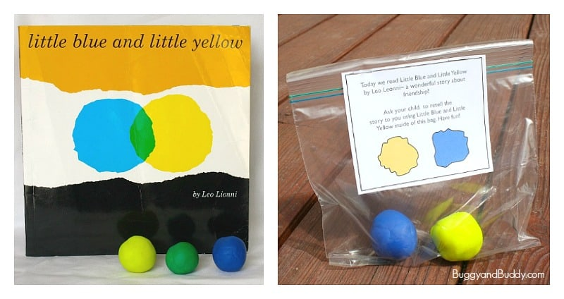 playdough mixing activity for Little Blue and Little Yellow