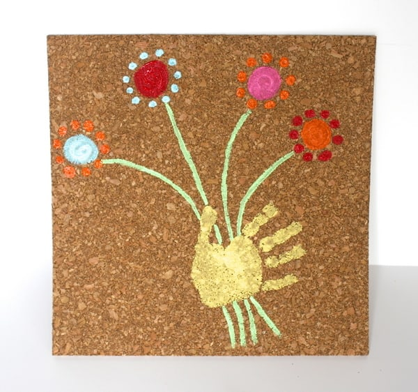 Handprint Art on Corkboard