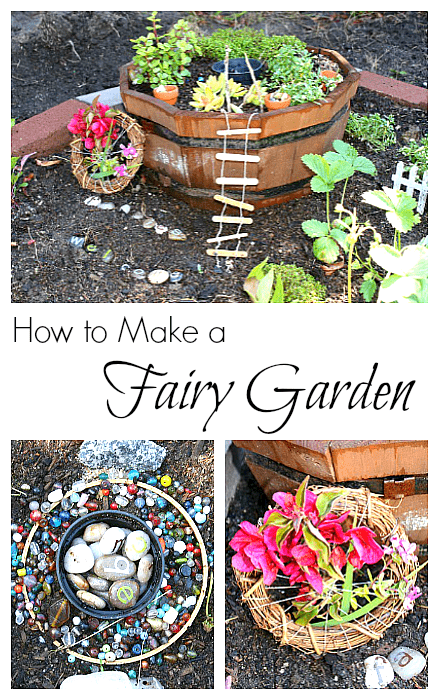 How to Make a Fairy Garden- with plants, craft stick ladder, nature weavings, letter stones, and more! Fun outdoor activity for spring and summer that encourages imaginative play! ~ BuggyandBuddy.com