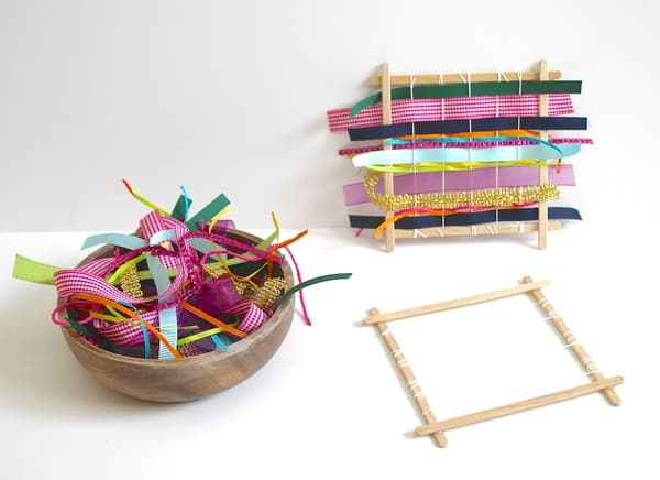 Homemade weaving loom using popsicle sticks