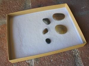 Sensory Play: Salt Tray with Rocks and Mini Salt Tray