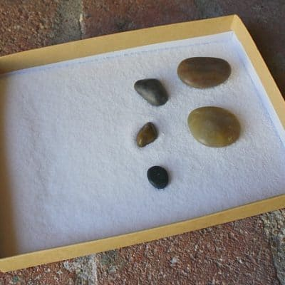 Sensory Play: Salt Tray with Rocks and Mini Salt Tray