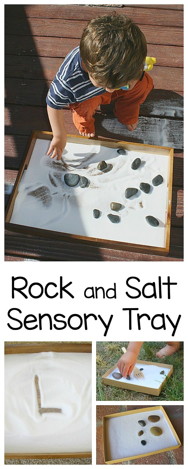 rock and salt sensory tray for toddlers and preschoolers