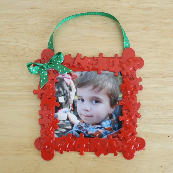 christmas ornament using puzzle pieces