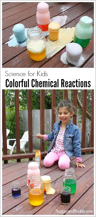 Hands-On Science Activity for Kids: Chemical reactions with baking soda and vinegar! (A fun way to explore color mixing too!) ~ BuggyandBuddy.com