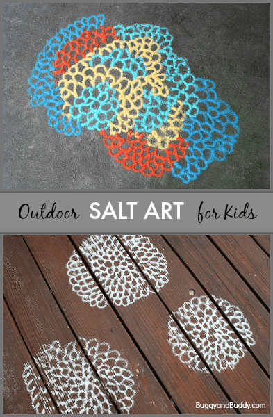 Such a fun idea! Kids create their own art outside using colored salt! (Salt Art for Kids- BuggyandBuddy.com)