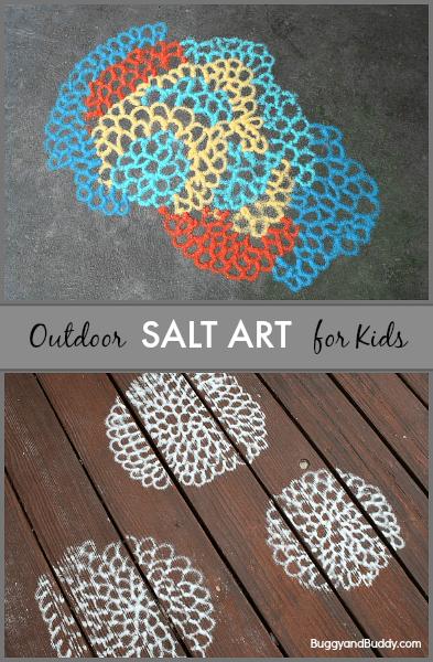 Such a fun idea! Kids create their own art outside using colored salt! (Salt Art for Kids- BuggyandBuddy.com)
