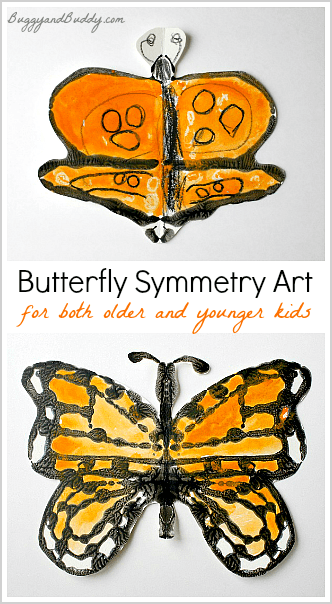Butterfly Symmetry Art Project for Kids using glue resists and watercolors- fun combo of math and art!
