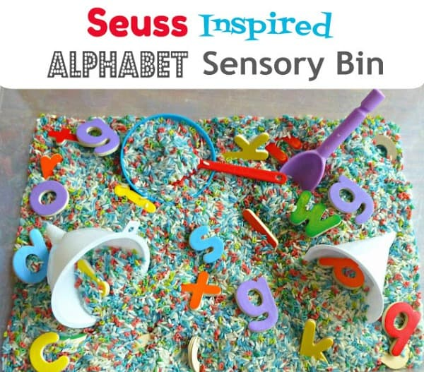 Seuss Inspired Alphabet Sensory Bin~ Finding the Teachable Moments