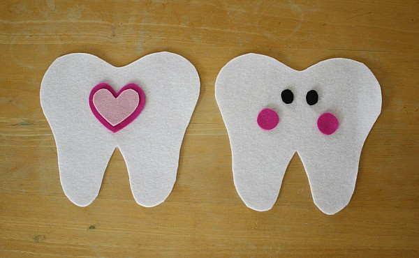 cut out felt pieces for tooth fairy pillow