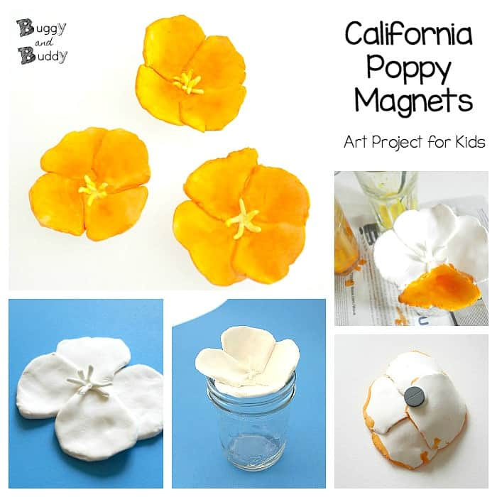 california poppy magnets- art and craft project for kids