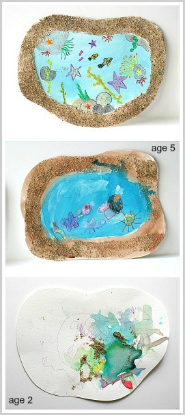 Love the sensory aspect of this! (Tidepool Art Project for Kids)~ BuggyandBuddy.com