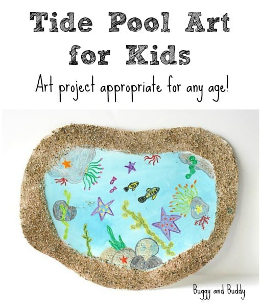 Tide Pool Art Project using real sand! (Perfect for an ocean or sea life unit and is adaptable for toddlers, preschoolers, kindergarteners, and up!) ~ BuggyandBuddy.com #oceanartproject #sealifeartproject #preschoolart #tidepoolcraft #tidepoolart #sensoryartproject #kindergartenart