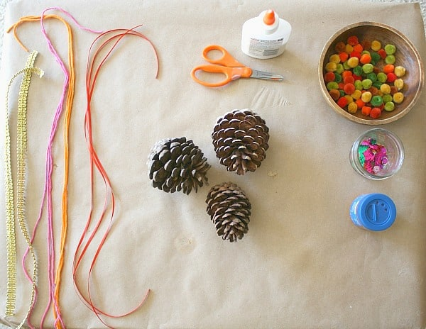 materials for decorating fall pinecones