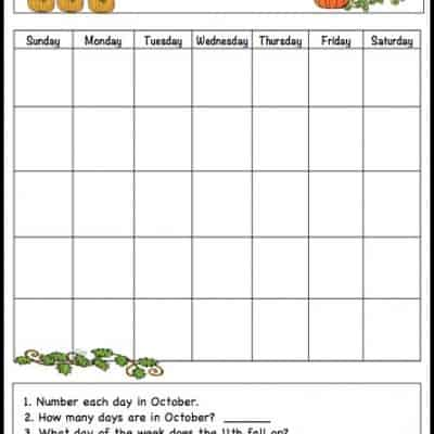 October Learning Calendar Template for Kids (Free Printable)