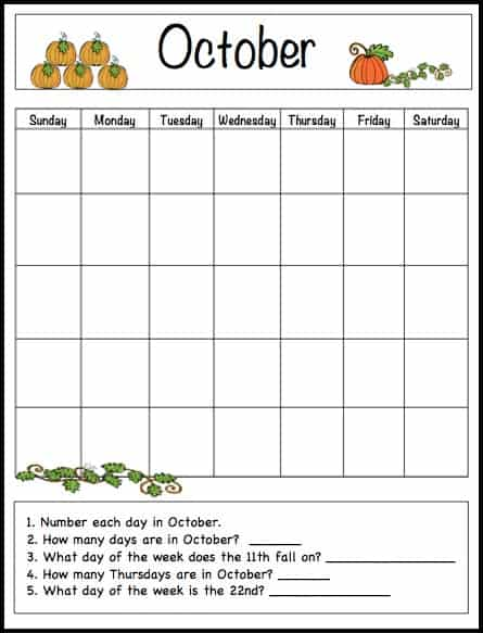 Kids Calendar Template : October learning calendar template for kids free
