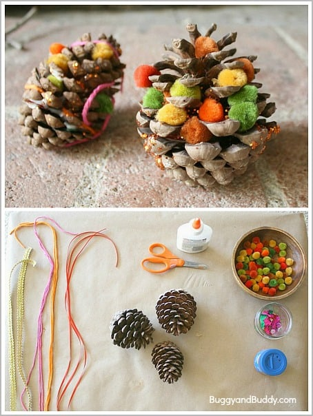 fall craft for kids decorate pinecones buggy and buddy