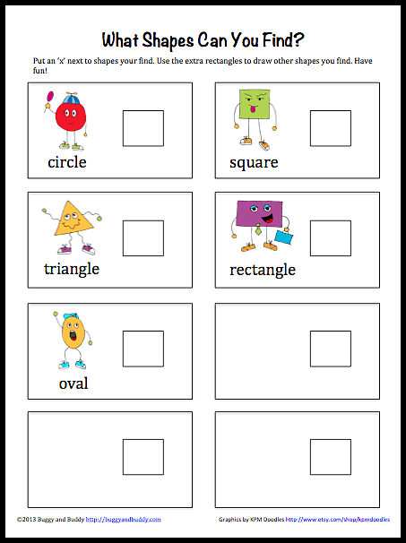 Geometry for Kids: Shape Hunt Printable~ Buggy and Buddy