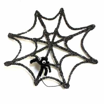 Halloween Crafts for Kids: Glitter Spider Web and Spider