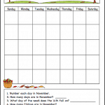 November Learning Calendar Template for Kids (Free Printable)