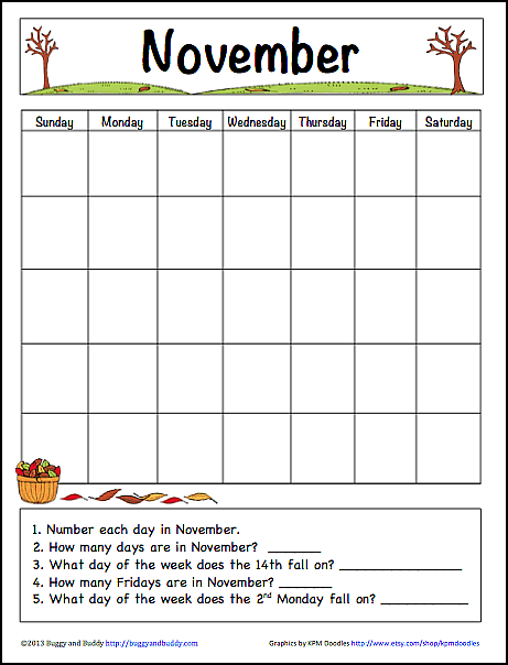 November Learning Calendar Free Printable