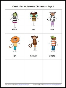 picture about Charades for Kids Printable identify No cost Printable Halloween Charades Recreation for Young children - Buggy and