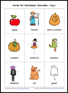 graphic regarding Free Printable Halloween Games for Adults called No cost Printable Halloween Charades Activity for Young children - Buggy and