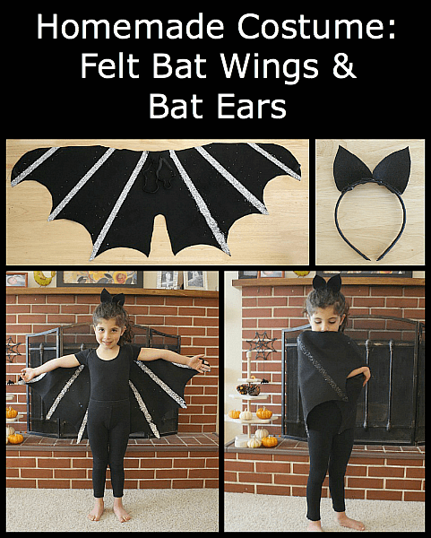 Homemade Halloween Costumes: Felt Bat Wings & Ears (with 3 Different Variations) - Buggy and Buddy
