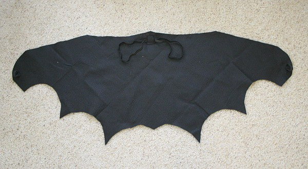 black bat wings with sewn elastic loops