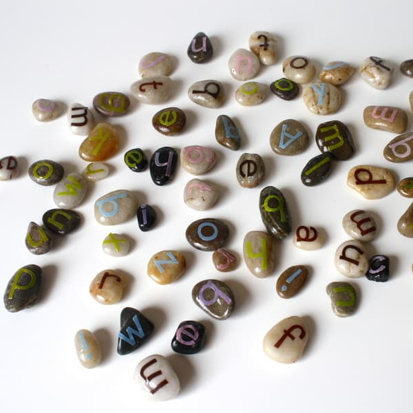 Create letter stones for inside or outside learning and play!