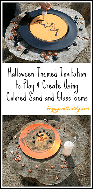 Halloween Activity for Kids: Create and Play Using Colored Sand and Glass Gems~ Buggy and Buddy