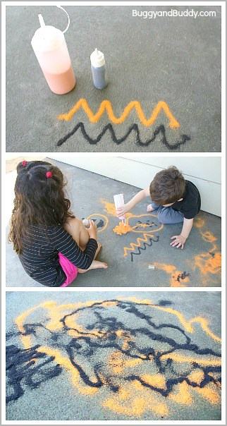 Halloween Process-Based Art- Draw with orange and black sand outside!~BuggyandBuddy.com