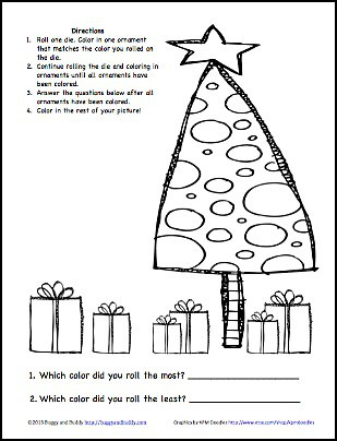 Christmas learning activity color the christmas ornaments free printable