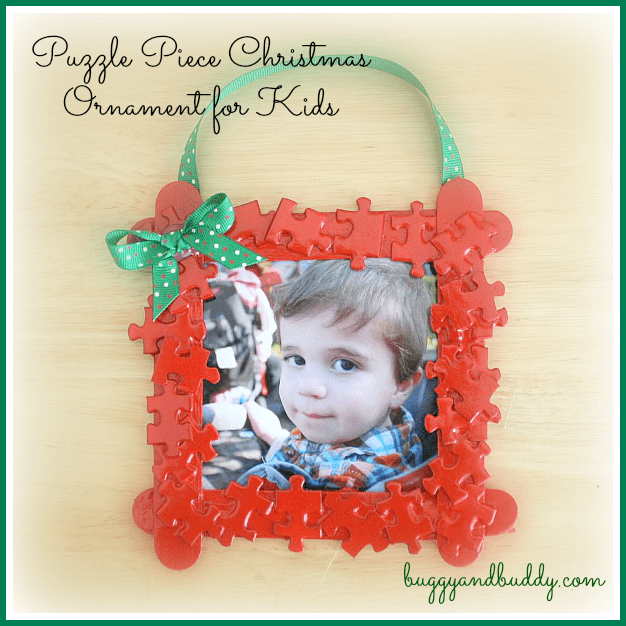 Christmas Crafts for Kids: Puzzle Piece Frame Christmas Ornament~ Buggy and Buddy